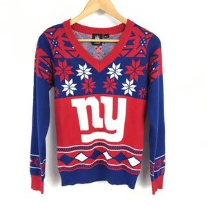 NY Giants NFL Team Apparel Snowflake Sweater
